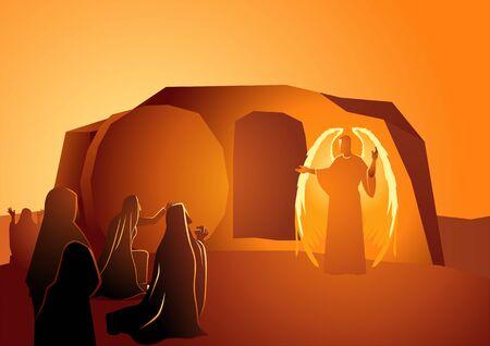 Serie di illustrazioni vettoriali bibliche, l'angelo è apparso sulla tomba di Gesù