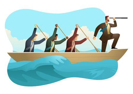 Business concept vector illustration of businessmen rowing a boat on unfriendly water, teamwork, success, leadership in business concept.