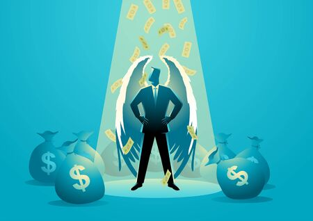 Business concept vector illustration of an angel businessman standing under spotlight with money rain and bags around him. Angel investor concept