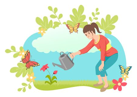 Simple flat vector illustration of a girl watering plant