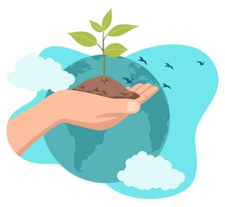 Simple flat vector illustration of a hand holding a young tree with world illustration as the background. Go green, save the planet, earth day concept