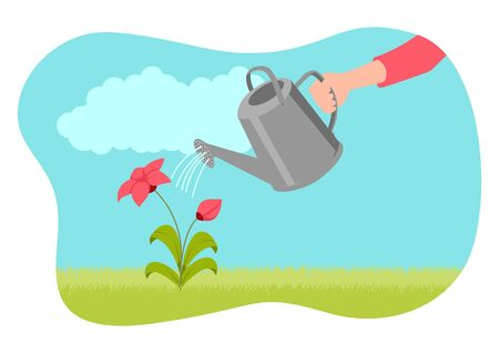 Simple flat vector illustration of hand holding watering can and watering plant 向量圖像