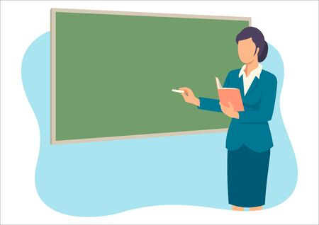 Simple flat vector illustration of a female teacher teaching in front of the class room