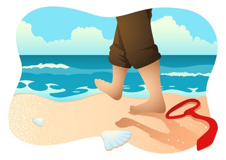 Business concept vector illustration of a businessman with barefoot walking on the beach, relief, relaxation concept.