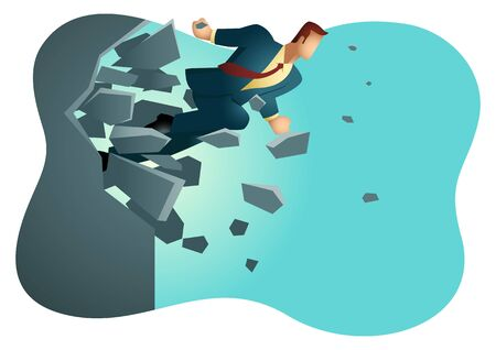 Business vector illustration of a businessman breaking the wall. Business, breakthrough, success, challenge concept