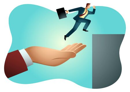 Business vector illustration of a hand helping a businessman to jump higher