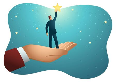 Business vector illustration of giant hand helping a businessman to reach out for the stars Çizim