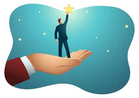 Zakelijke vectorillustratie van gigantische hand die een zakenman helpt om naar de sterren te reiken