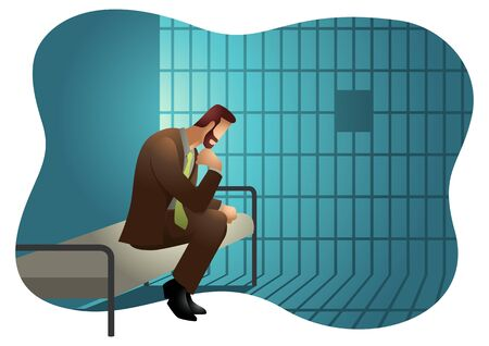 Business vector illustration of a businessman in jail. Illusztráció