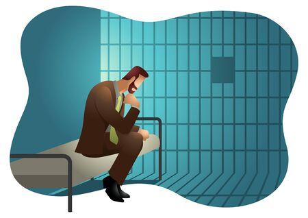 Business vector illustration of a businessman in jail. Çizim