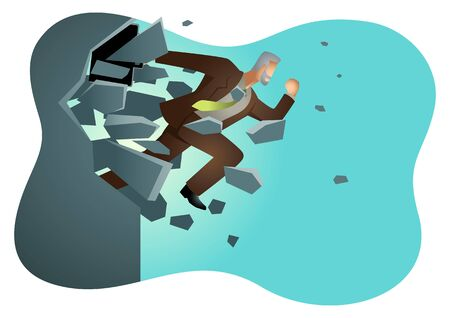 Business vector illustration of a businessman jump breaking the wall. Business, breakthrough, success, challenge concept