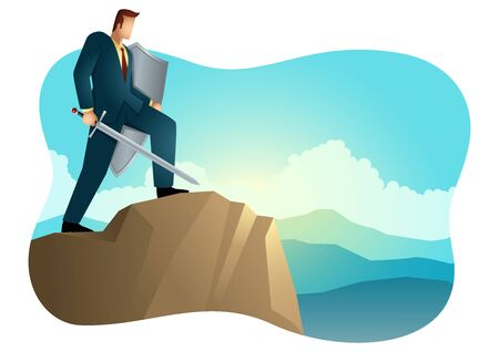 Business vector illustration of an optimistic businessman holding a sword and shield standing on top of a mountain,  preparation, protection, precaution in business concept. Çizim