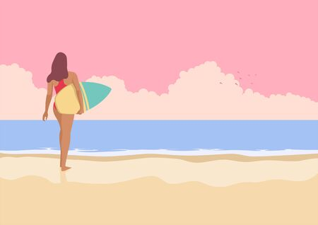 Simple flat vector illustration of surfer girl walking on the beach. Summer vacation. Water sports. Lifestyle