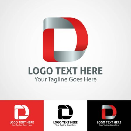 Modern elegant professional hi-tech trendy initial icon logo based on letter D.