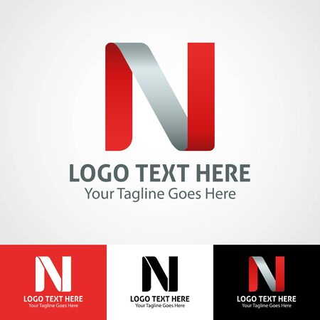Modern elegant professional hi-tech trendy initial icon logo based on letter N.