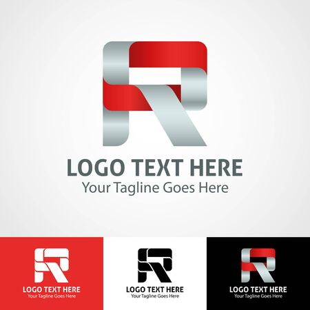 Modern elegant professional hi-tech trendy initial icon logo based on letter R.