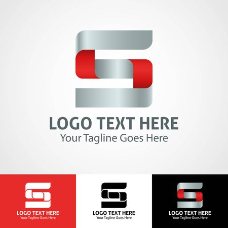 Modern elegant professional hi-tech trendy initial icon logo based on letter S. Çizim