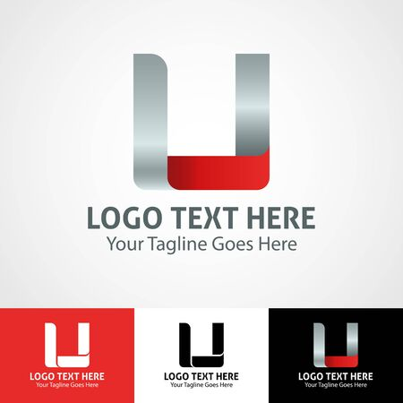 Modern elegant professional hi-tech trendy initial icon logo based on letter U.