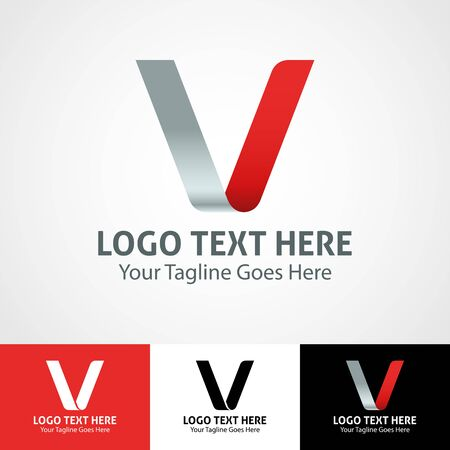 Modern elegant professional hi-tech trendy initial icon logo based on letter V.