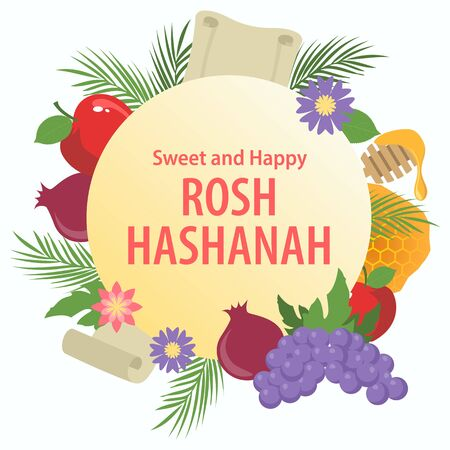 Happy Rosh Hashanah Jewish New Year Holiday decorative symbol greeting card.