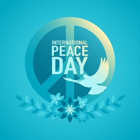Vector illustration of decorative peace symbol for International Day of Peace or World Peace Day.