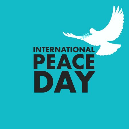 Simple flat vector illustration of white dove with leaf, symbol for International Day of Peace or World Peace Day.