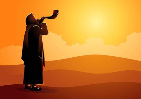 Vector illustration Jewish man blowing the Shofar ram's horn on Rosh Hashanah and Yom Kippur day. Çizim
