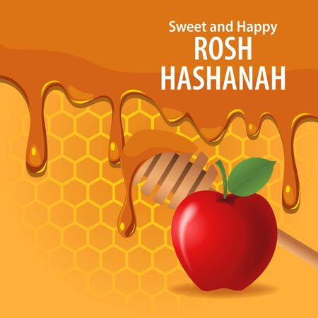 Vector illustration of melting honey and apple for Rosh Hashanah holiday.