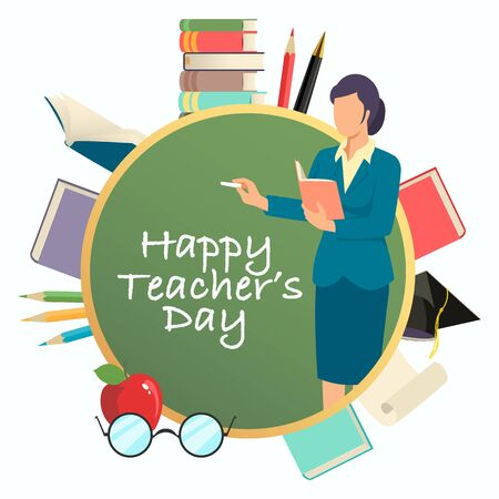 Vector illustration of Happy Teacher's Day concept, decorative symbol