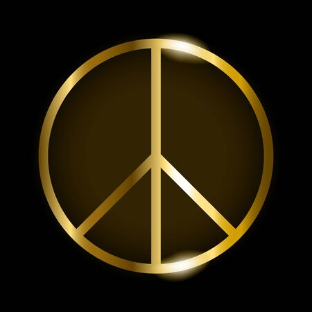 Vector illustration of gold peace symbol on black background