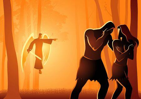 Biblische Vektorillustrationsserie, Adam und Eva aus dem Garten vertrieben