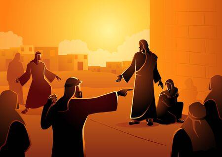 Serie di illustrazioni vettoriali bibliche, Gesù perdona la donna adultera. Chi è senza peccato scagli la prima pietra Vettoriali