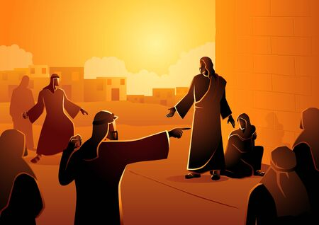 Biblical vector illustration series, Jesus Forgives Adulterous Woman. Let he who is without sin cast the first stone Illustration