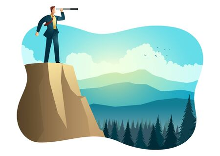 Business vector illustration of businessman using telescope on top of the mountain