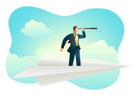 Business vector illustration of businessman using telescope on paper plane, opportunity, vision in business