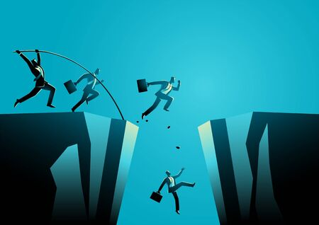 Businessmen trying to jump over the ravine or valley. Business competition, concept vector illustration