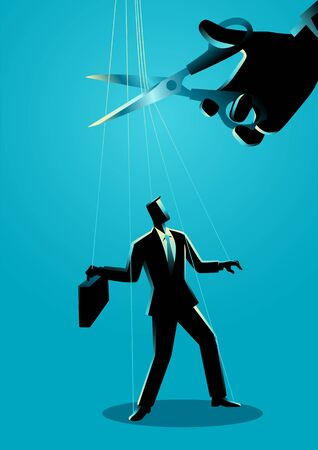 Giant hand with scissors cutting the strings attached to businessman. Freedom, independent, liberation, control concept