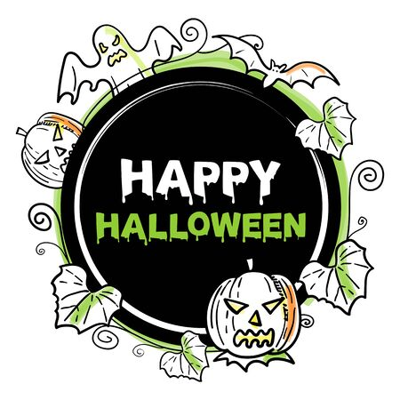 Vector illustration of Happy Halloween icon or banner isolated on white