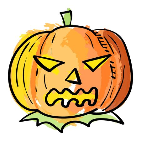 Vector illustration of Halloween pumpkin in watercolor effect, isolated on white background. Halloween element design