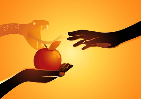 Biblical vector illustration series, Adam and Eve, Eve offering the apple to Adam Illustration