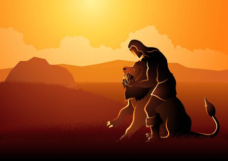 Biblical vector illustration series, Samson Fighting The Lion