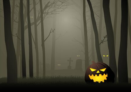 Graphic illustration of  spooky cemetery in the woods, for Halloween theme or background