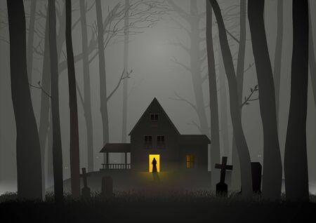 Illustrazione grafica della casa spettrale nel bosco, per Halloween e tema horror Vettoriali