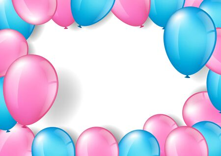 Vector illustration of pink and blue balloons, for festival, birthday and celebration concept