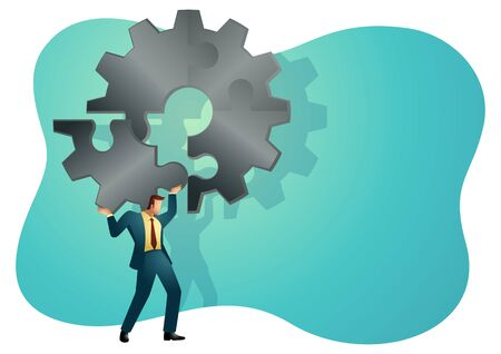 Business concept illustration of a man holding on his shoulder the final piece of puzzle which forming a gear, business, complete, completion, solution concept