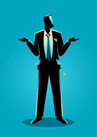 Business concept vector illustration of a businessman with empty pockets turned outward, having no money, broke concept
