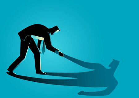 Business concept vector illustration of a businessman helping his own shadow to stand up. Believe in yourself, conscious, the only person you can rely on is yourself