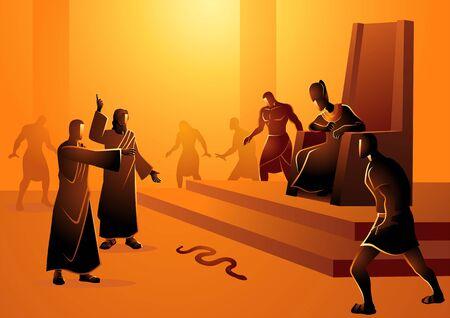 Biblische Vektorillustrationsserie, Moses und Aaron gingen zum Pharao und taten, was der Herr ihnen befohlen hatte. Aaron warf seinen Stab vor dem Pharao und seinen Beamten nieder, und es wurde eine Schlange