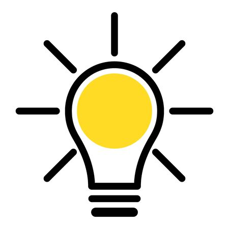 Simple icon of light bulb isolated on white, vector illustration Çizim