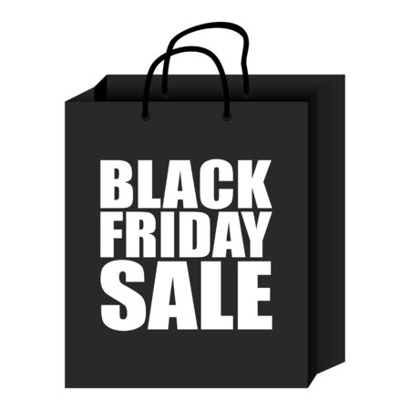 Simple vector illustration of shopping bag with Black Friday Sale text